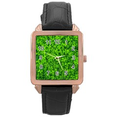 Shamrock Clovers Green Irish St  Patrick Ireland Good Luck Symbol 8000 Sv Rose Gold Leather Watch