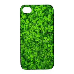 Shamrock Clovers Green Irish St  Patrick Ireland Good Luck Symbol 8000 Sv Apple iPhone 4/4S Hardshell Case with Stand