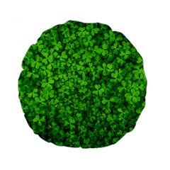 Shamrock Clovers Green Irish St  Patrick Ireland Good Luck Symbol 8000 Sv Standard 15  Premium Flano Round Cushions