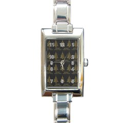 Merry Christmas Tree Typography Black And Gold Festive Rectangle Italian Charm Watch