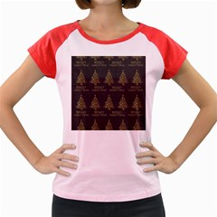 Merry Christmas Tree Typography Black And Gold Festive Women s Cap Sleeve T-Shirt