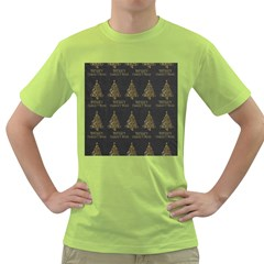 Merry Christmas Tree Typography Black And Gold Festive Green T-Shirt