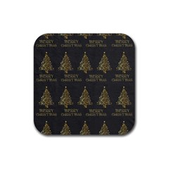 Merry Christmas Tree Typography Black And Gold Festive Rubber Coaster (Square)