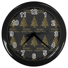 Merry Christmas Tree Typography Black And Gold Festive Wall Clocks (Black)