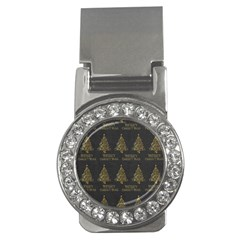Merry Christmas Tree Typography Black And Gold Festive Money Clips (CZ)