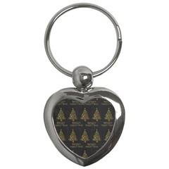 Merry Christmas Tree Typography Black And Gold Festive Key Chains (Heart)