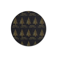 Merry Christmas Tree Typography Black And Gold Festive Rubber Coaster (Round)