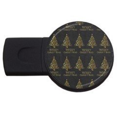 Merry Christmas Tree Typography Black And Gold Festive USB Flash Drive Round (2 GB)