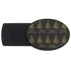 Merry Christmas Tree Typography Black And Gold Festive USB Flash Drive Oval (2 GB)