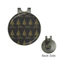 Merry Christmas Tree Typography Black And Gold Festive Hat Clips with Golf Markers