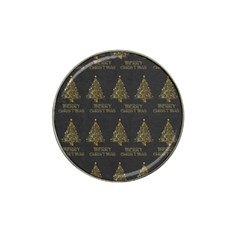 Merry Christmas Tree Typography Black And Gold Festive Hat Clip Ball Marker (4 pack)