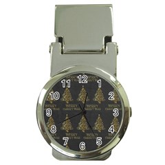 Merry Christmas Tree Typography Black And Gold Festive Money Clip Watches