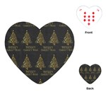 Merry Christmas Tree Typography Black And Gold Festive Playing Cards (Heart)  Front