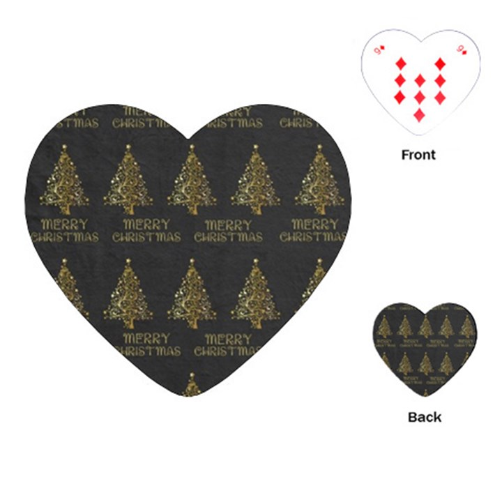 Merry Christmas Tree Typography Black And Gold Festive Playing Cards (Heart)