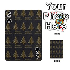 Merry Christmas Tree Typography Black And Gold Festive Playing Cards 54 Designs