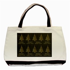 Merry Christmas Tree Typography Black And Gold Festive Basic Tote Bag