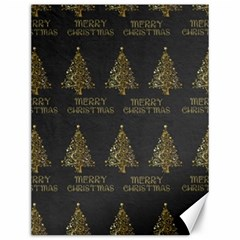 Merry Christmas Tree Typography Black And Gold Festive Canvas 12  x 16