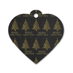 Merry Christmas Tree Typography Black And Gold Festive Dog Tag Heart (two Sides)