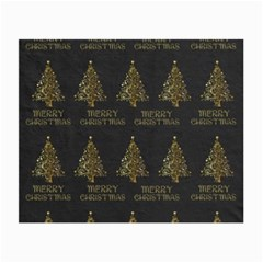 Merry Christmas Tree Typography Black And Gold Festive Small Glasses Cloth (2-Side)