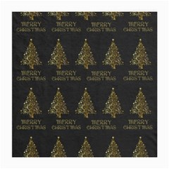 Merry Christmas Tree Typography Black And Gold Festive Medium Glasses Cloth