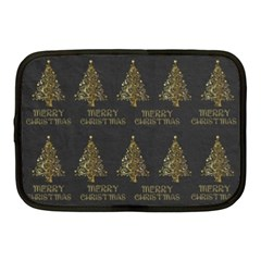 Merry Christmas Tree Typography Black And Gold Festive Netbook Case (Medium)