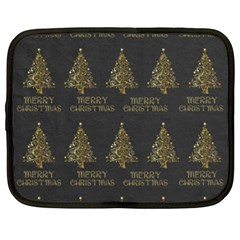 Merry Christmas Tree Typography Black And Gold Festive Netbook Case (Large)