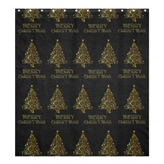 Merry Christmas Tree Typography Black And Gold Festive Shower Curtain 66  x 72  (Large)