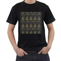 Merry Christmas Tree Typography Black And Gold Festive Men s T-Shirt (Black)