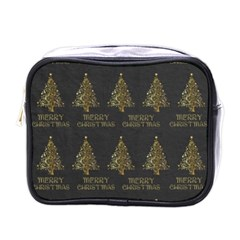 Merry Christmas Tree Typography Black And Gold Festive Mini Toiletries Bags