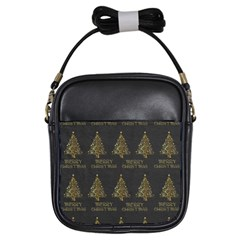Merry Christmas Tree Typography Black And Gold Festive Girls Sling Bags