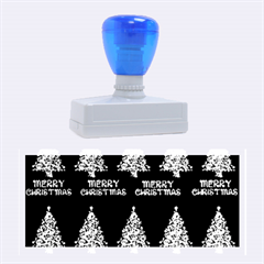Merry Christmas Tree Typography Black And Gold Festive Rubber Stamps (Large)