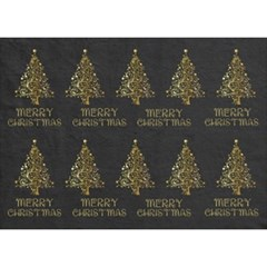 Merry Christmas Tree Typography Black And Gold Festive Birthday Cake 3D Greeting Card (7x5)