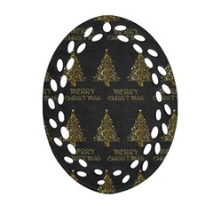 Merry Christmas Tree Typography Black And Gold Festive Ornament (oval Filigree)