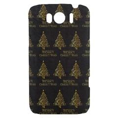 Merry Christmas Tree Typography Black And Gold Festive HTC Sensation XL Hardshell Case