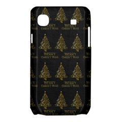 Merry Christmas Tree Typography Black And Gold Festive Samsung Galaxy SL i9003 Hardshell Case