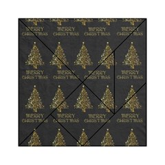 Merry Christmas Tree Typography Black And Gold Festive Acrylic Tangram Puzzle (6  x 6 )