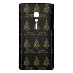 Merry Christmas Tree Typography Black And Gold Festive Sony Xperia ion