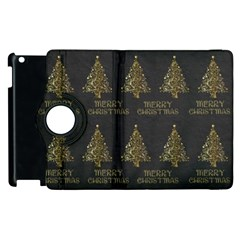 Merry Christmas Tree Typography Black And Gold Festive Apple Ipad 3/4 Flip 360 Case