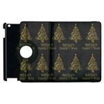 Merry Christmas Tree Typography Black And Gold Festive Apple iPad 3/4 Flip 360 Case Front