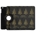 Merry Christmas Tree Typography Black And Gold Festive Apple iPad Mini Flip 360 Case Front