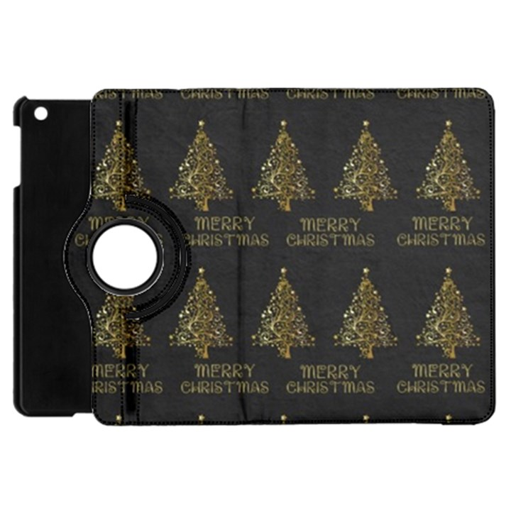 Merry Christmas Tree Typography Black And Gold Festive Apple iPad Mini Flip 360 Case