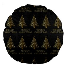 Merry Christmas Tree Typography Black And Gold Festive Large 18  Premium Round Cushions