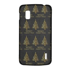 Merry Christmas Tree Typography Black And Gold Festive LG Nexus 4