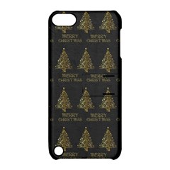 Merry Christmas Tree Typography Black And Gold Festive Apple iPod Touch 5 Hardshell Case with Stand