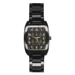Merry Christmas Tree Typography Black And Gold Festive Stainless Steel Barrel Watch