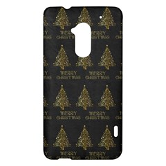 Merry Christmas Tree Typography Black And Gold Festive HTC One Max (T6) Hardshell Case