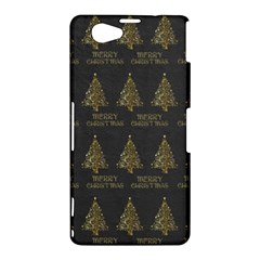 Merry Christmas Tree Typography Black And Gold Festive Sony Xperia Z1 Compact