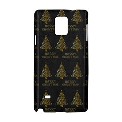 Merry Christmas Tree Typography Black And Gold Festive Samsung Galaxy Note 4 Hardshell Case