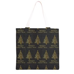Merry Christmas Tree Typography Black And Gold Festive Grocery Light Tote Bag