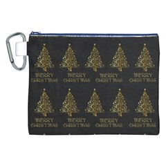 Merry Christmas Tree Typography Black And Gold Festive Canvas Cosmetic Bag (XXL)